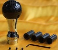 universal car gear shift knob  carbon fiber surface aluminum alloy body high round shape