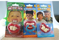 1piece Safer Funny Baby Pacifiers Cute Teeth Pacifier Horrible Baby Soother Fake Teat For Baby Suck Supply With Retail Packaging