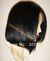 "best quality cheap price12""#1b 100% virgin peruvian human hair straight bob lace front wig with side bang free shipping"