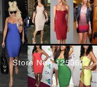 Wholesale women's fashion strapless bandage bodycon dress 13 colors