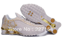 New Arrived men/women shox shoes,boys/girls nice design in cartoon running shoes white&gold color,high quality sneakers