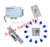 Free shipping ,access control kit ,one EM keypad access control +power+Electric Strike Lock+exit button +10 em key fob