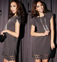 2015 New Fashion Women Dress Lady Round Collar Cotton Blend Loose Casual Dress Long Tops T-shirt Dress Gray