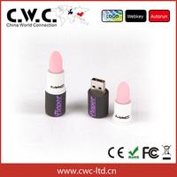 Free shipping pvc pink lipstick pendrive 2GB/4GB/8GB/16GB/64gb flash drive wholesale gift usb flashdrive