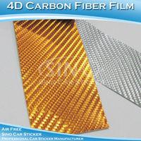 1.52x30M 5FTx98FT Free Shipping Chrome Gold 4D Carbon Fiber Wrap Film