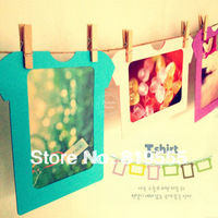 T-shirt hanging paper photo frame photo frame photos of wall Assemblage zone wooden clip 10PCS 5 inch album  Exquisite album