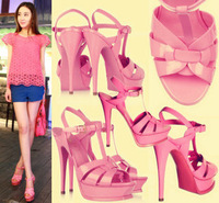 2013 y l pink black japanned leather high-heeled sandals candy color women's leather sandals shoes