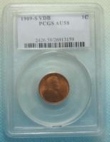 AU58 1909 S VDB Lincoln Wheat Cent Penny Copy
