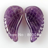 g0692 30mm Natural amethyst carved angel wing pendant earrings beads loose stone beads 10pcs/lot
