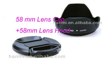 Free Shipping + Tracking Number 58mm Flower Petal Lens Hood and 58mm Center-Pinch Lens Cap for Digital Camera