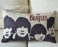 "Free Shipping 20"" The Beatles Portrait Retro Vintage Style Linen Decorative Waist Pillow Case Pillow Cover Cushion Cover"