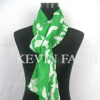Green fluorescence background  White flying birds scarf  Fashion style scarf Wholesale