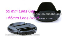 Free Shipping + Tracking Number 55mm Flower Petal Lens Hood and 55mm Center-Pinch Lens Cap for Digital Camera