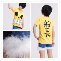 Cosplay anime costume one piece Monkey D Luffy  V neck Captain 100 summer cotton t shirt