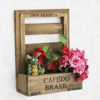Log zakka retro wall finishing flower sundries shelf storage hot selling15.5x7x20.5cm free shipping