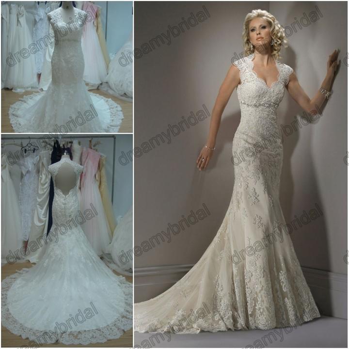 Modern Wedding Dresses Backless : Free shipping vintage lace mermaid designer wedding dresses backless