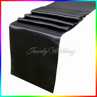 "FREE SHIPPING 5 pieces Black 12""x108""  Satin Table Runner Wedding Party Decoration"