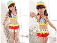 2013 newest dot 3-7 years 3 suit kid girl bikini+bathing cap,Children swimsuit,baby swimwear,1lot/5 set wholesales&Free shipping