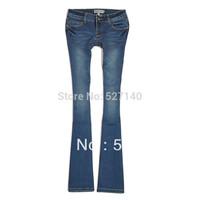 2014 autumn women's fashion star style blue low-waist wearing white slim bell-bottom jeans