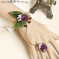 Vintage wrist accessories rose leaves bracelet elegant one piece chain hand  jewelry 0243