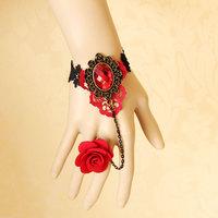 Red rose bridal accessories vintage wrist length accessories bracelet elegant one piece chain wedding jewelry 0247