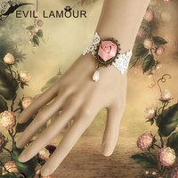 White vintage lace female bracelet rose flower bride wristband bridal jewelry free shipping 0191