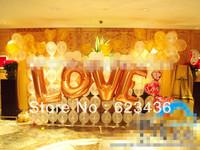 Free shipping' i love you' 40 Large gold letter aluminum balloon aluminum letter combination single letter