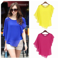 Fashion 2013 Women Chiffon Blouse Blue/Black 5Colors Plus Size, Batwing Sleeve Loose Blouses  JM06623 --Free Shipping