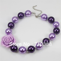 new arrival NB30620 Little girl's jewelry chunky bubblegum beads plastic necklace ROSE FLOWER  FOR choice new