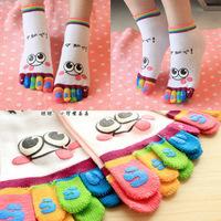 Free  Shipping Creative cartoon toe socks toe socks cotton lady short paragraph cotton socks cute smile paragraph 6 colors