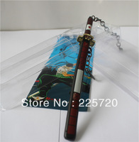 Free shipping Japanese Anime Knife Model 17cm Zinc Alloy One Piece Keychain Roronoa Zoro Red Sandai Kitetsu Sword