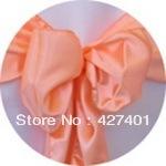 Hot Sale Peach Satin Chair Cover Sash / Satin Sash / Chair Sash For Wedding Event & Party Decoration