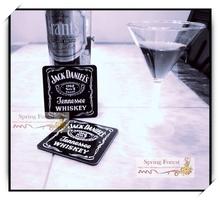 Wholesale   Jack Daniels whisky Coaster  for Bar ,home ,cafe 9.5x9.5cm 10pcs/lot(China (Mainland))