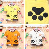 2014 new autumn children cotton top longsleeve jacket baby boy kid cute beer  claw coat orange yellow grey clothing 4pcs/lot