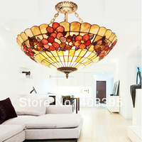 Free Shipping 24 Inch Natural Sea Shell Light Pendant Lights Decorative Lighting with Rich Flowers tiffany Lamp Design