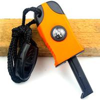 3 in1 Flint Stone Survival Magnesium Fire Starter Lighter+Whistle +Compass