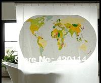 EVA world map green waterproof shower curtain 180 * 180cm