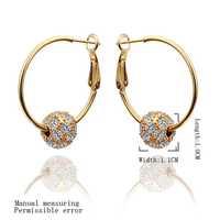 Free Shipping 18K GP Gold Plated Earring Fine Fashion Nickel Free Tin Alloy Rhinestone Crystal 18K Drop Jewelry Earring SMTPE456