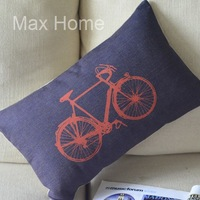 "Free Shipping 20"" Orange Bike Retro Vintage Style Linen Decorative Waist Pillow Case Pillow Cover Cushion Cover"