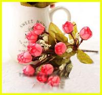 15 heads/bundle silk artificial flowers,autumn style,artigicial rose,home decorations,decorative flowers,7colours,Free shipping