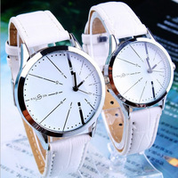 2014 New Fashion Casual Personality Couple Lovers Quartz Watches Wristwatches with PU Leather Band Couple Watches Free Shipping