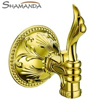 Free Shipping Luxurious Robe Hook,Clothes Hook,Gold Plating Finished,Bathroom Accessories Products Golden Robe Hooks-66002G