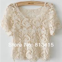 JTP50 Celebrity Style Women's Bohemian Vintage Lace Crochet Paisley Floral Crop Tees Tops T-Shirt Shirts Plus Size Free Shipping