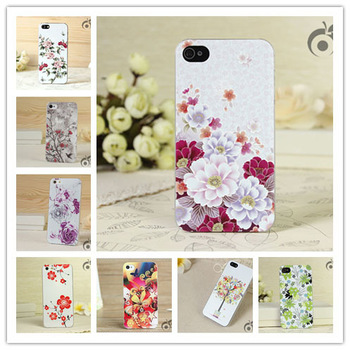 Cases for apple iphone 5 5s  floral brand design mobile cell phone case colour relief luxury back covers retail one piece