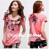 Large size women fat mm spring summer T -shirt XL XXL XXXL free shipping