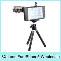 8X Optical Zoom Telescope Telephoto Lens Long Focal Aluminum Camera for Apple iPhone5 5S Drop Shipping via DHL Wholesale