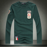 Men's plus size 4xl cotton tops new arrival american style patchwork Italian flag badge long-sleeve T-shirt afd188 f50