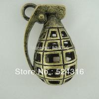 Wholesale DIY Vintage Style Antique Bronze Plated Alloy Hollow 3D Antitank Grenade Shaped Pendant Charms 34*23mm 5pcs