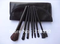 Free Shipping M Brand 7PCS Set Makeup Brush Cosmetic Brushes Set +Black Soft Leather Bag
