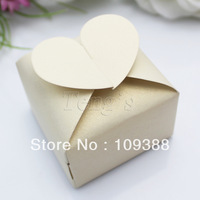 Free Shipping 50pcs HEART Ivory Favor Gift Candy Boxes Wedding Party Baby Shower